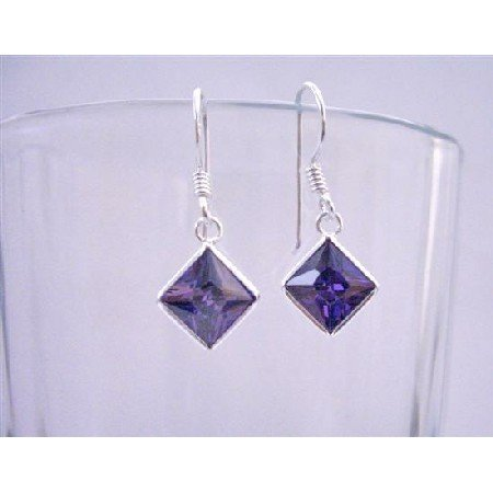 UER007  Tanzanite Cubic Zircon Diamond Shaped Sterling Silver 92.5 Hook Earrings