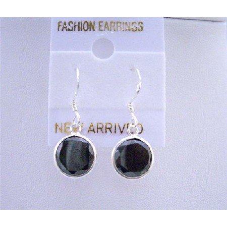 UER023  Sparkling Stud Earrings Genuine Sterling Silver 92.5 Black Stud Earrings