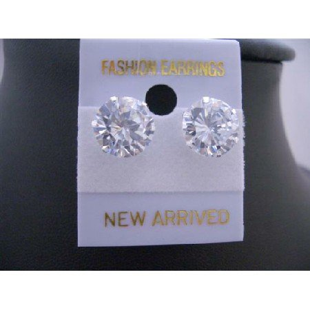 UER118  Round Simulated Diamond Stud Earrings 10mm Sterling Silver Stud Earrings