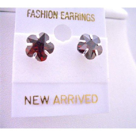 UER036  Burnt Orange Cubic Zircon Flower Stud Earrings