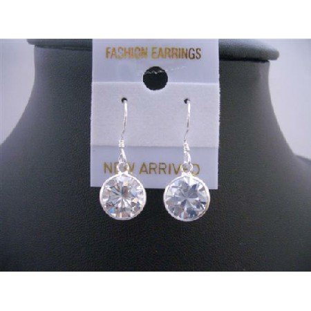 UER106  10mm Cubic Zircon Stud Earrings Genuine Sterling Silver 92.5 Hook Earrings