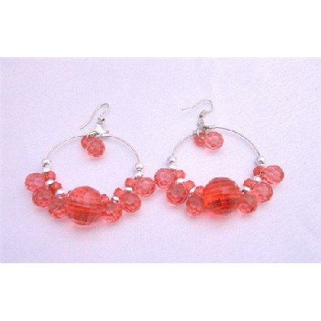 UER020  Sexy Red Simulated Crystals Beads Silver Hoop Earrings Gorgeous Earrings