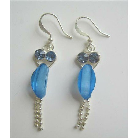 U080  Fancy Silver Earrings w/ Sapphire Cubic Zircon Dangling Silver Chain Earrings