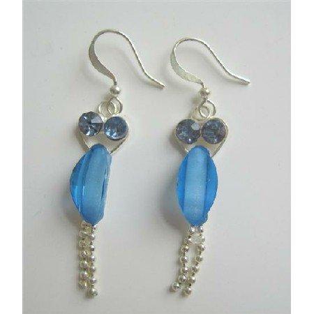 U080  Fancy Silver Earrings w/ Sapphire Cubic Zircon Dangling Silver Chain Earrings