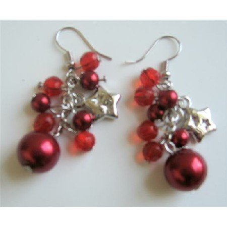 U108  Christmas Jewelry Red Simulated Pearls Crystals & Stars Dangling Earrings