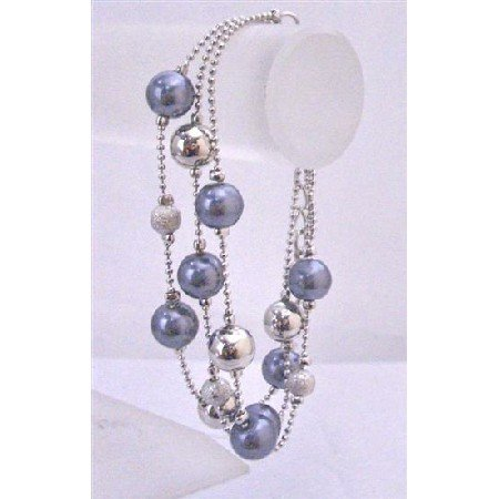 U078 Three Stranded Bracelet Blue Pearls Silver Balls&Fancy Beads Pink Pearls AB Crystals