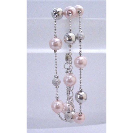U192Dainty Sleek Pink Pearls Fancy Beads Silver Bead Three Stranded Beautiful Pink Bracelet