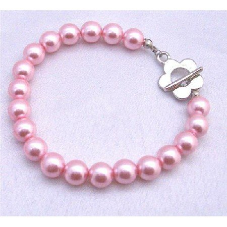 U031  Sexy Pink Pearls Bracelet Jewelry w/ Flower Toggle Clasp