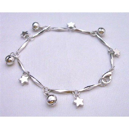 U101Dangling Jingle Ball Star Charm Bracelet High Quality Rhodium Chain w/Dangling 7Inches