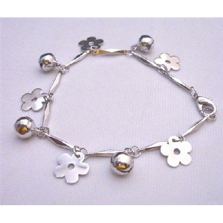 U102 Christmas Bracelet w/Charms Flowers&Jingle Balls Dangling From Good Rhodium Chain