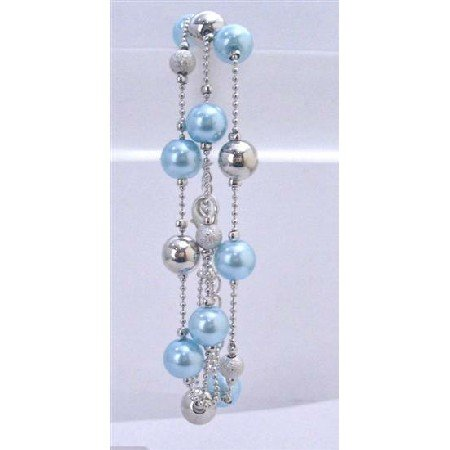 U077  Grey Pearls Fashionable Three Stranded Bracelet Gray Pearls Silver Balls&Fancy Beads