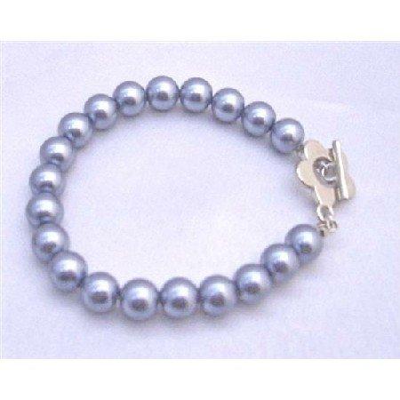 U193  Cool Nice Dark Grey Pearls Bracelet w/ Beautiful Flower Toggle Clasp