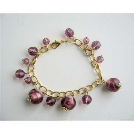 UBR103  Millefiori Simulated Glass Amethyst Beads Dangling Bracelet Gold Plated 7 Inches Bracelet