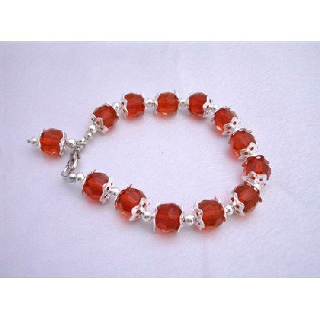 U211  Red Glass Bead Dangling Bracelet w/ Silver Bead 7 1/2 Inches Bracelets