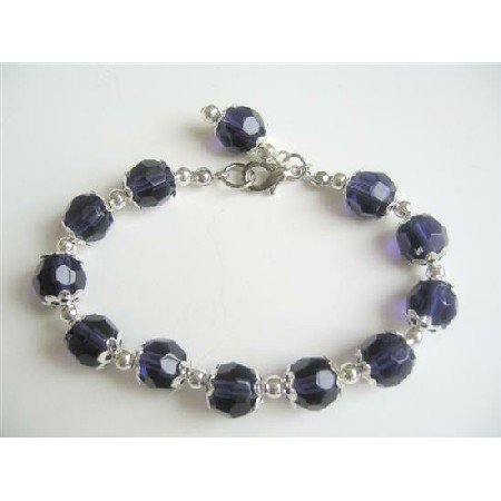 UBR046  Dark Purple Egg Plant Color Immitation Crystals Beads Bracelet w/ Bali Silver