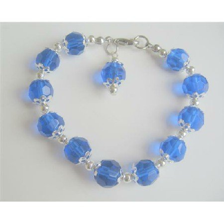 UBR003  Royal Blue Crystals Glass Beads Dangling Stunning Bracelet&Bali Silver