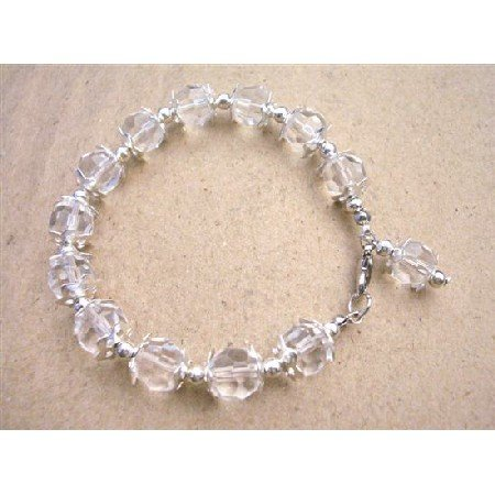 U029  Elegant Pure Clear Crystals Braclet Clear Beads Bracelet