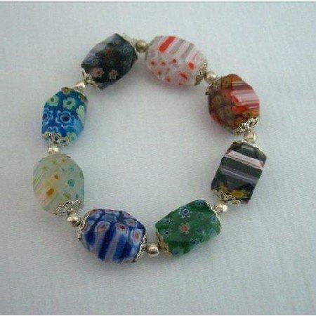UBR024  Stretchable Bracelet Millefiori Murano Glass Bead Bracelet