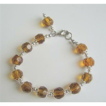 UBR051 Smoked Topaz Color Immitation Crystals Good Quality Beads Bracelet w/Bali Silver