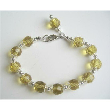 U208  Olive Green Fabulous Striking Crystals Glass Beads w/ Bali Silver Dangling Bracelet