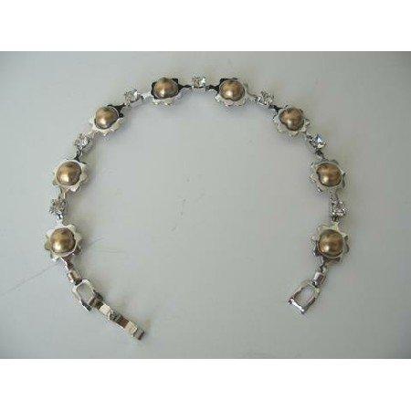 UBR037  Classic Cubic Zircon Bracelet w/ Bronze Pearls Bracelet 7 Inches