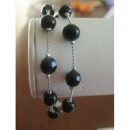 U003  Simulated Black Crystals Multifaceted Two Strand Bracelet