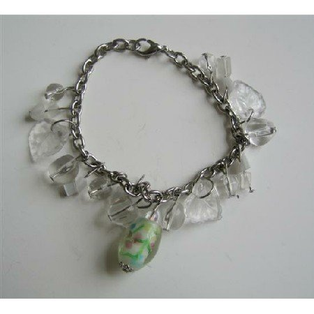 UBR069  Soothing Pure White Beaded Bracelet Dangling Leaves Millefiori Bracelet