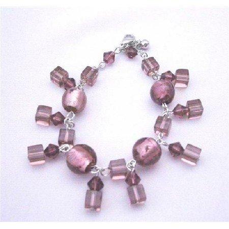UBR085  Amethyst Simulated Crystals Classy Bracelet w/ Dangling