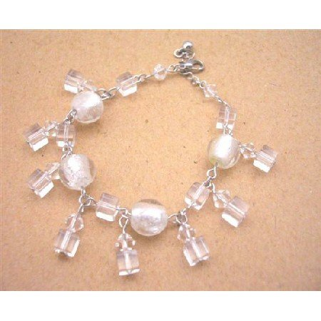 UBR090  Clear Crystals Dangling Bracelet Simulated Clear Crystals Bracelet
