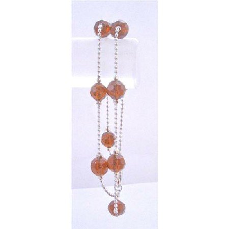 UBR127  Smoked Topaz Crystals Double Stranded Bracelet Simulated Multifaceted Crystals Bracelets