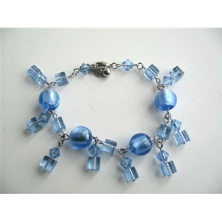 UBR033  Cool Blue Dangling Crystals Bracelets Simulated Crystals Bracelet