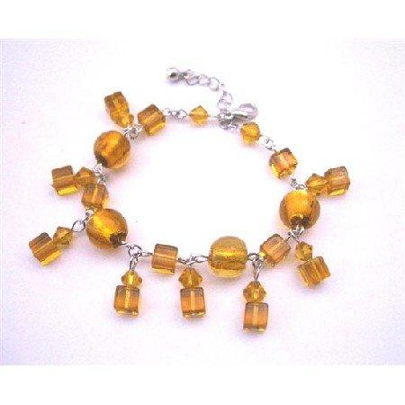 UBR089  Topaz Pumpkin Crystals Sexy Bracelet Simulated Topas Crystals Dangling Bracelet