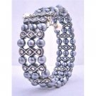 UBR132  Dark Grey Pearls Stretchable Bracelet w/ Black Ethnic Designed Bracelet Bangle Bracelet