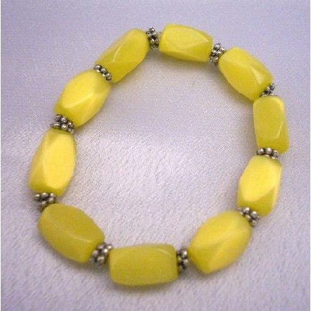 UBR027  Stretchable Bracelet Genuine Yellow Cat Eye Beaded Bracelet w/ Daisy Spacing