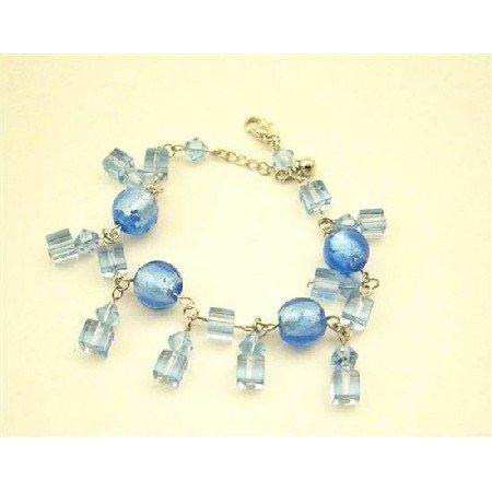 UBR088  Sexy Crystals Bracelet Smiulated Aquamarine Sapphire Crystals Bracelet Dangling Bracelet