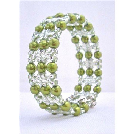 UBR133 Olive Pearls Stretchable Bracelet w/Clear Ethnic Designed Bracelet Bangle Bracelet