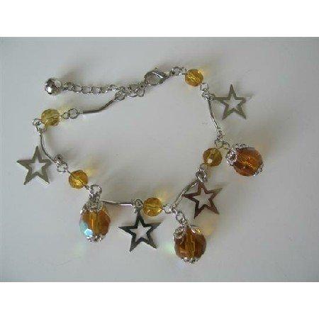 UBR065  Christmas Bracelet Dangling Simulated Topaz Crystals And Star Bracelet