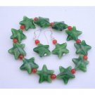 UBR052 Christmas Stretchable Bracelet&Sterling Silver Earrings Green Glass Star&Red Beads