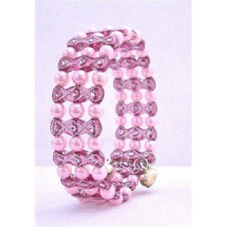 UBR131  Pink Pearls w/ Pink Designed Cuff Bracelet Bangle/Stretchable Bracelet