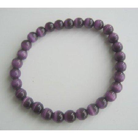 UBR055  Cat Eye Beaded Stretchable Bracelet Purple Cat Eye 6mm Beads Handmade Bracelet