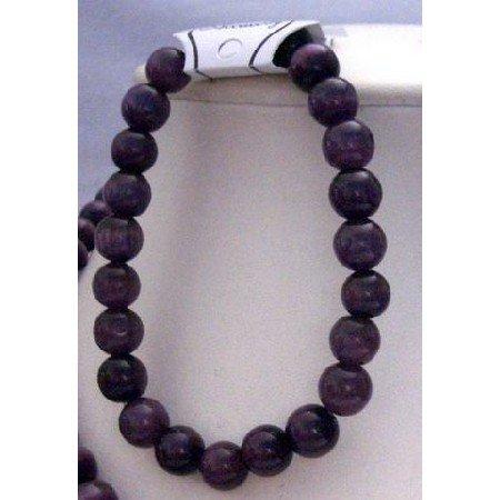 UBR031  Handmade Stretchable Bracelet Custom Dark Purple Genuine Cat Eye Beaded Bracelet