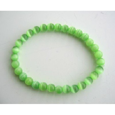 UBR057  Beaded Stretchable Bracelet Green Cat Eye Beaded Stretchable Bracelet Handmade Jewelry