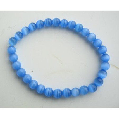 UBR053  Blue Cat Eye Beaded Stretchable Bracelet Handmade Jewelry