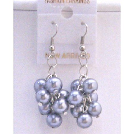 U067  Pearls Grape Bunch Earrings Grey Pearls Chandelier Earrings