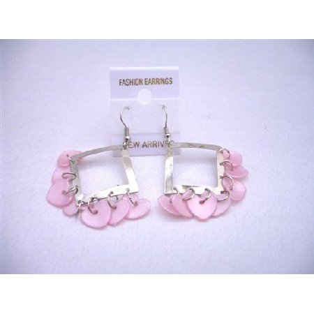 U071  Diamond Frame Chandelier Earrings w/ Pink Heart Dangling Beads Earrings