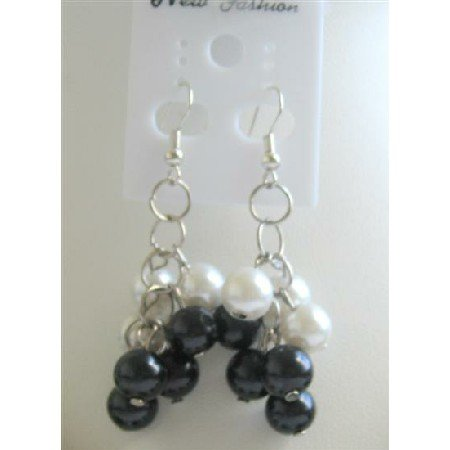 UER112  Black & White Pearls Earrings Synthetic Pearls Chandelier Earrings