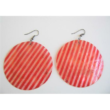 UER077  Red & White Stripes Shell Earrings Round Mop Stripes Shell Earrings
