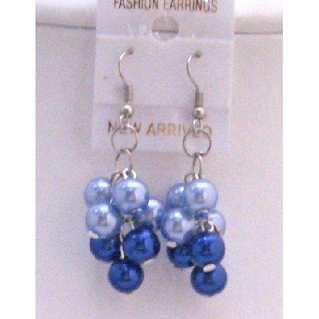U226  Pearls Grape Bunches Earrings Lite & Dark Blue Combo Pearls Earrings
