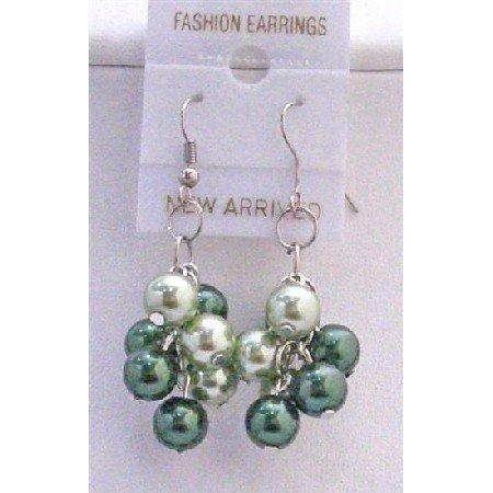 U052  Lite & Dark Green Pearls Earrings Inexpenisve Pearls Bunches Earrings