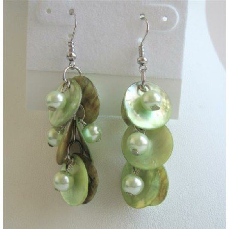 UER116  Striking Shell Earrings Natural Green Shell w/ Beads Dangling EarringS